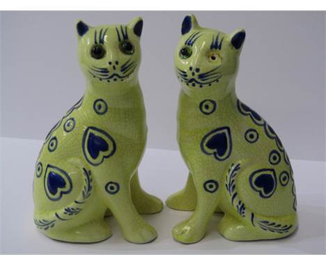 """POTTERY CATS, pair of Galle-style yellow ground cats  with blue heart decoration beaded eyes, 6""""  (1 glass eye missing)"""