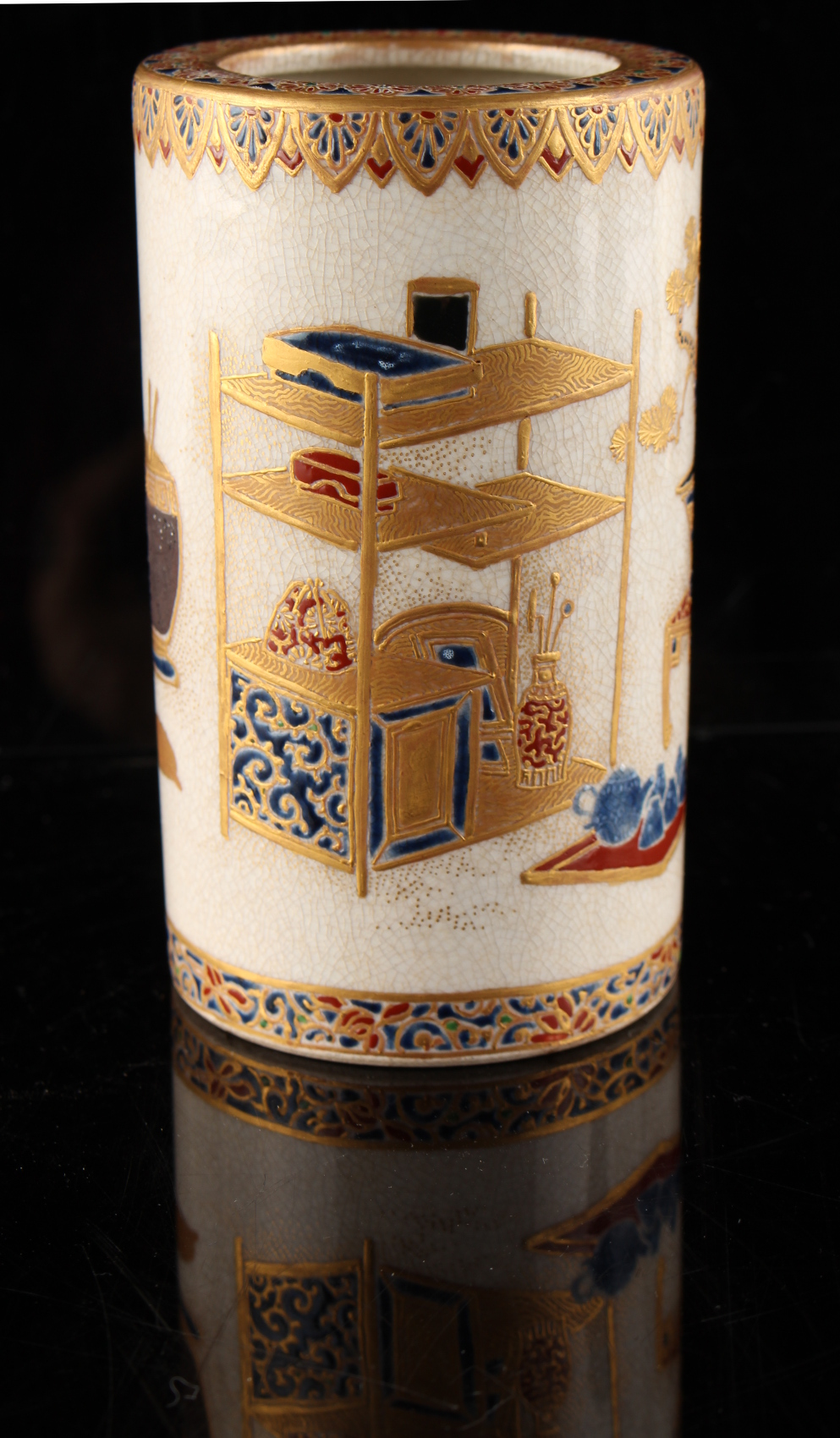An unusual Japanese Satsuma cylindrical vase, Meiji period (1868-1912), painted with precious - Image 2 of 4