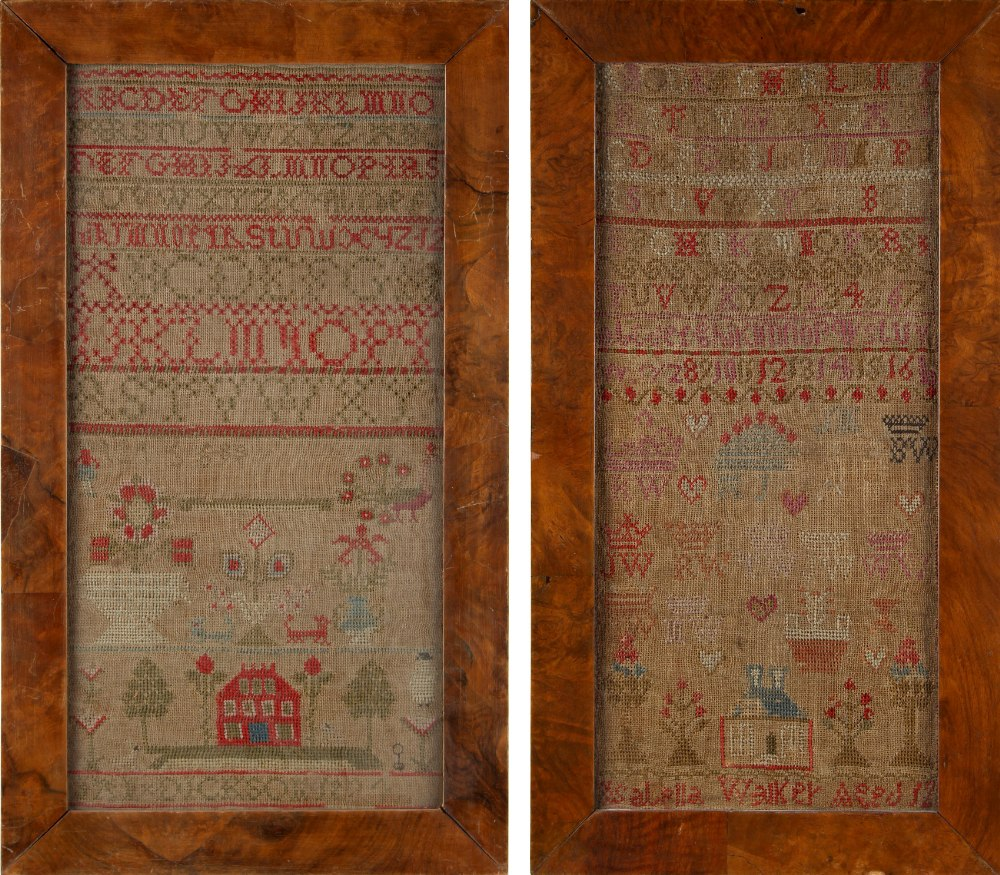 Property of a lady - two 19th century alphabet & house samplers, in similar glazed frames, 19.3 by