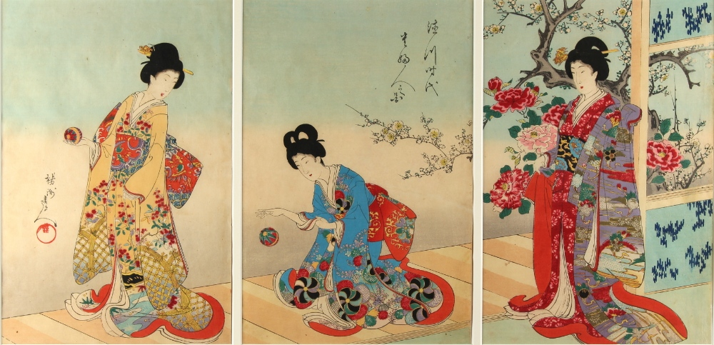 A collection of Japanese woodblock prints - Chikanobu Yoshu (1838-1912) - Playing with Silk Balls (