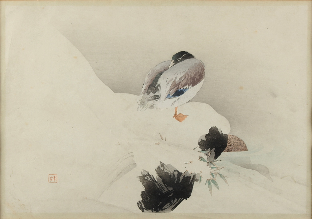 Property of a gentleman - a Japanese woodblock print depicting a goose in snow, early 20th