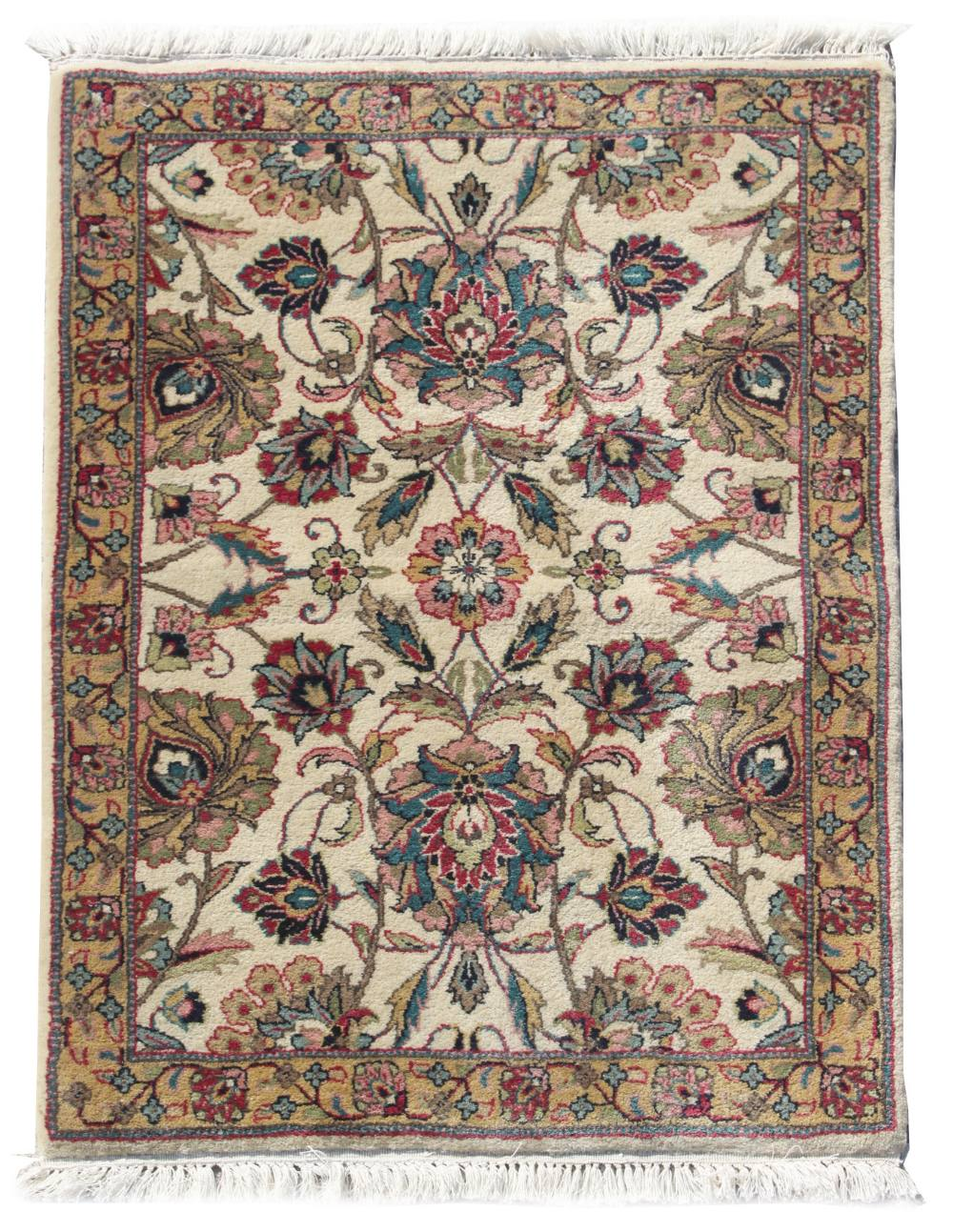Property of a deceased estate - a small Persian Isfahan rug, with ivory ground, 35 by 25ins. (89