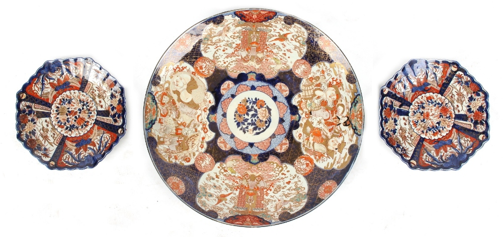Property of a lady - a large late 19th century Japanese Imari charger, 24ins. (61cms.) diameter;