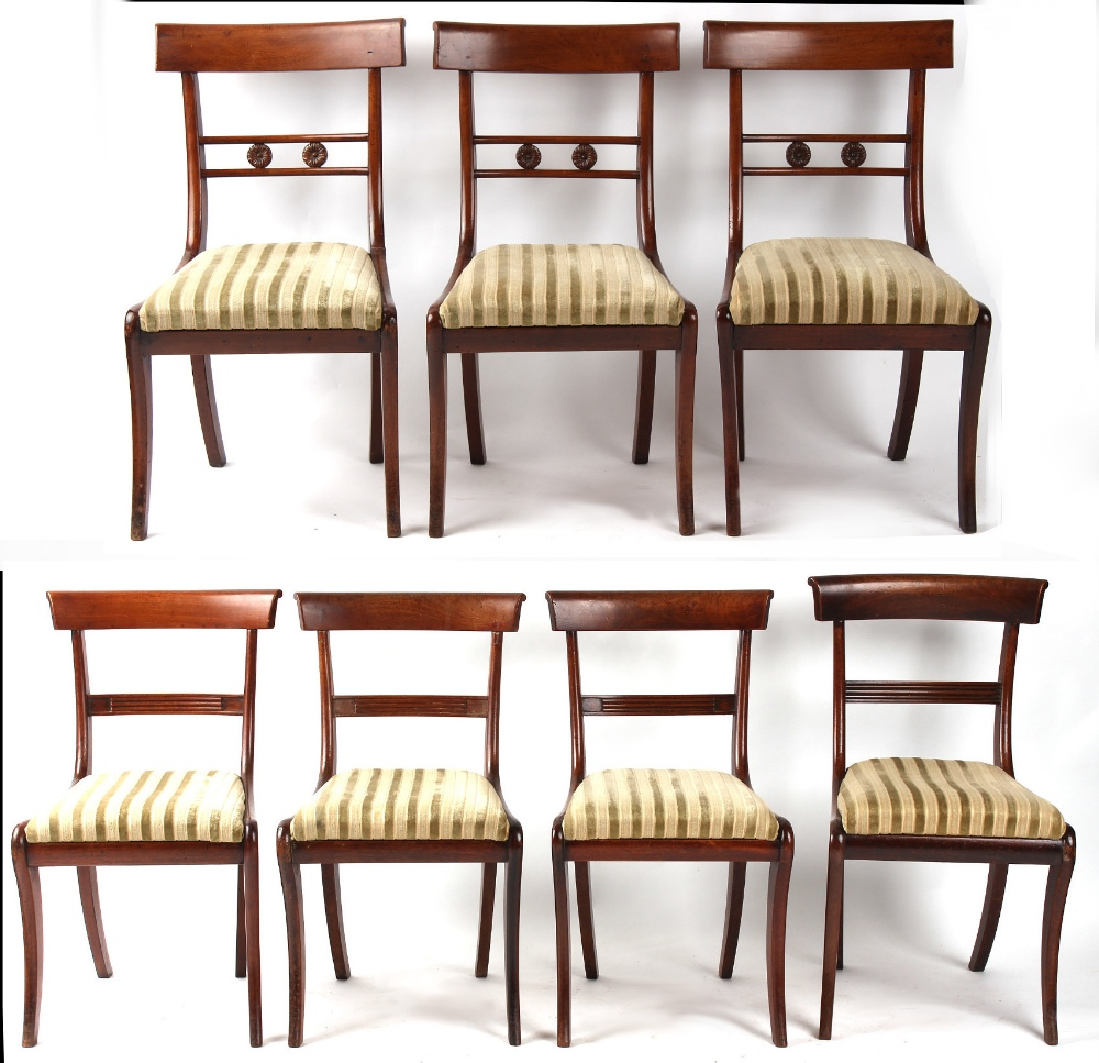 Property of a deceased estate - a set of four early 19th century Regency mahogany bar-back dining
