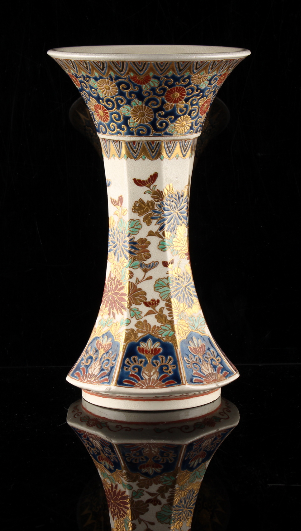 A good Japanese Imperial Satsuma vase, Meiji period (1868-1912), of waisted octagonal trumpet - Image 2 of 4
