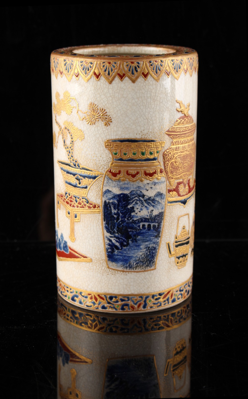An unusual Japanese Satsuma cylindrical vase, Meiji period (1868-1912), painted with precious - Image 3 of 4