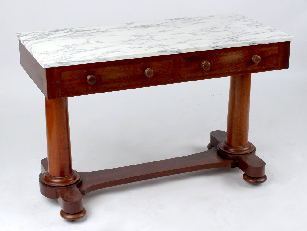 Property of a deceased estate - a Victorian mahogany duchess washstand with later marble top, 43.
