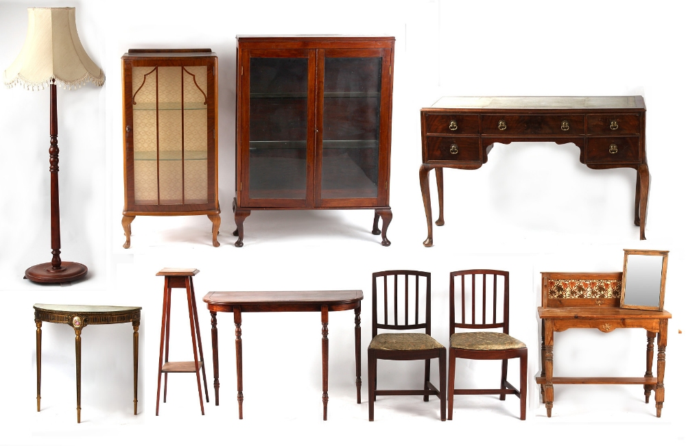 Property of a deceased estate - a mixed lot of furniture including a pair of Georgian fruitwood side