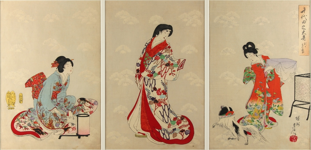 A collection of Japanese woodblock prints - Chikanobu Yoshu (1838-1912) - Ladies Preparing for Going