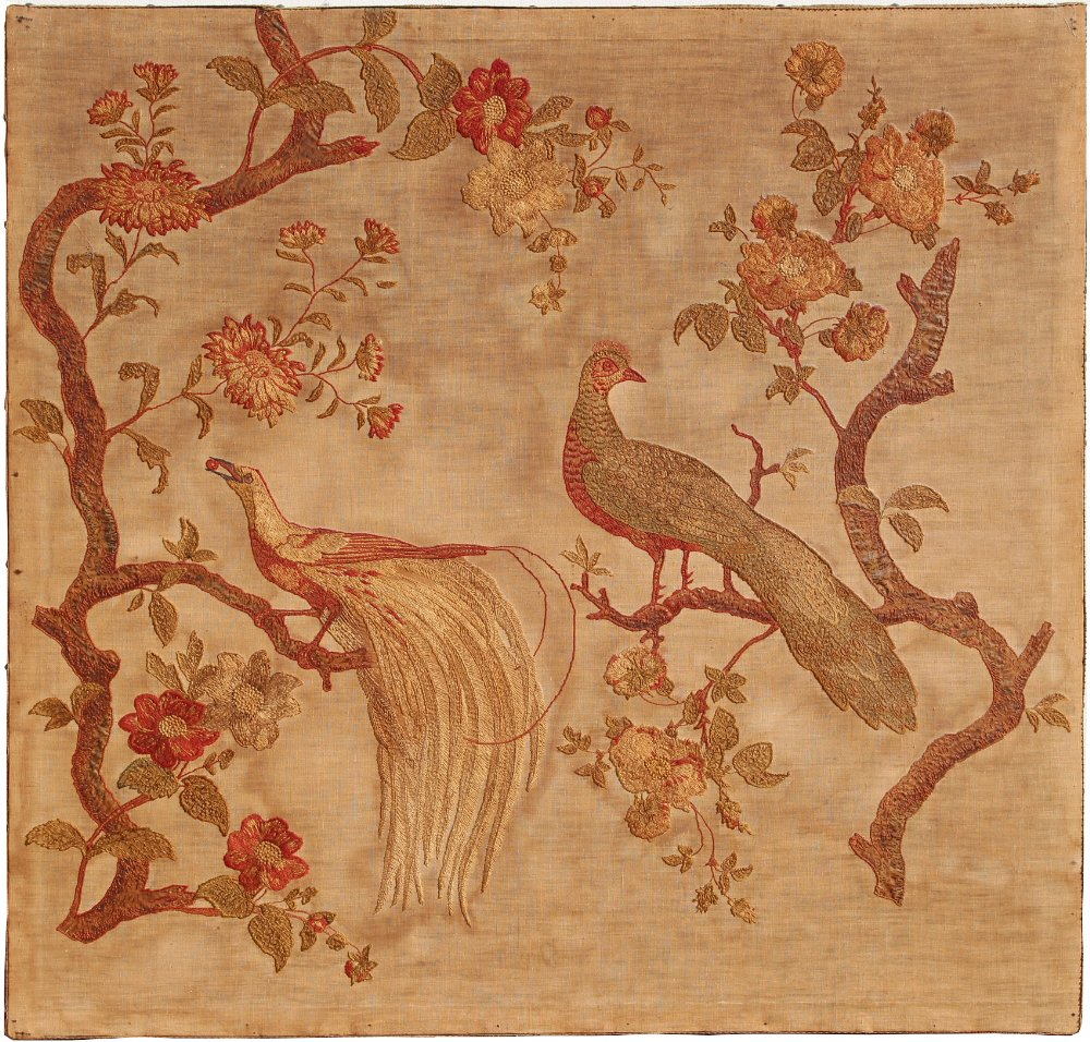 Property of a gentleman - a 19th century embroidered panel depicting a peacock & a bird of paradise,