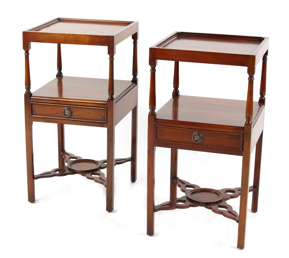 Lot 190 - Property of a deceased estate - a pair of George III style mahogany two-tier nightstands, each