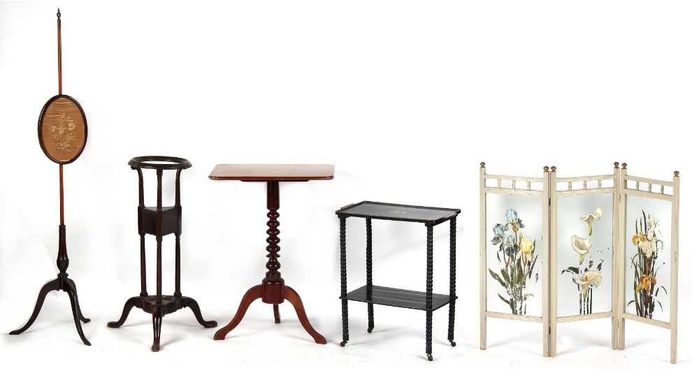 Property of a gentleman - a mixed lot of furniture including a polescreen with floral silkwork panel