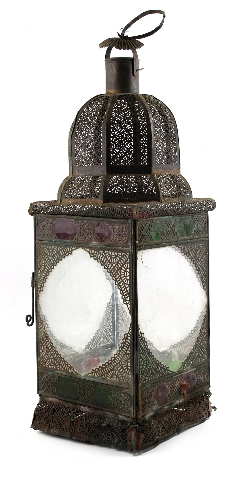 Property of a gentleman - a Middle Eastern pierced metal & coloured glass panelled hall lantern,
