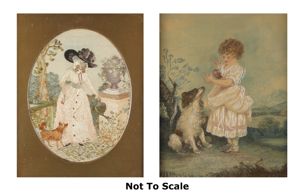 Property of a lady - an Edwardian embroidered silkwork oval picture depicting a lady in formal