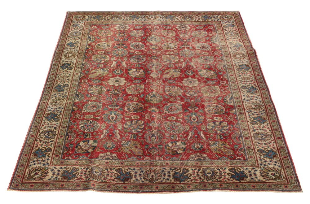 Property of a lady - a mid 20th century Mahal carpet, West Persia, worn, 128 by 97ins. (325 by
