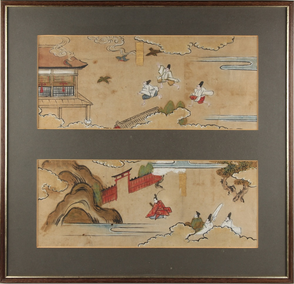Property of a lady - two sections of a 19th century Japanese hand scroll painting on paper. each
