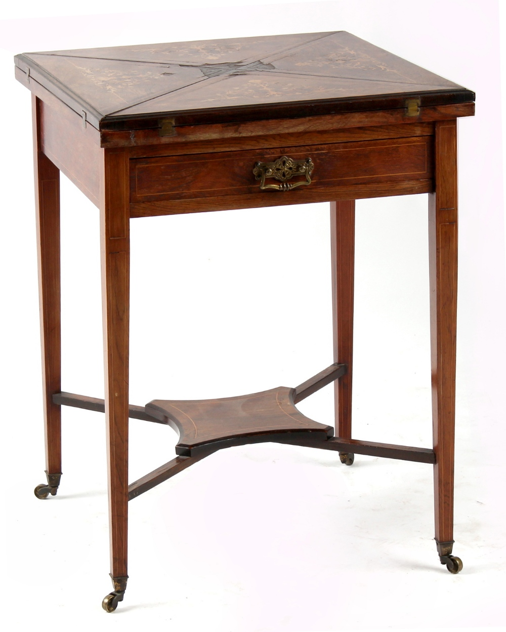 Property of a lady - an Edwardian rosewood & marquetry inlaid envelope card table, losses to