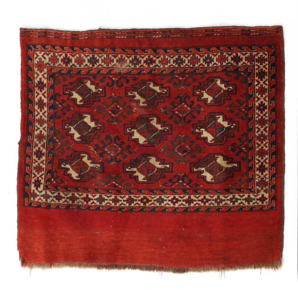 Property of a lady - an antique Turkoman Yomut juval, 43 by 29ins. (110 by 74cms.) (see