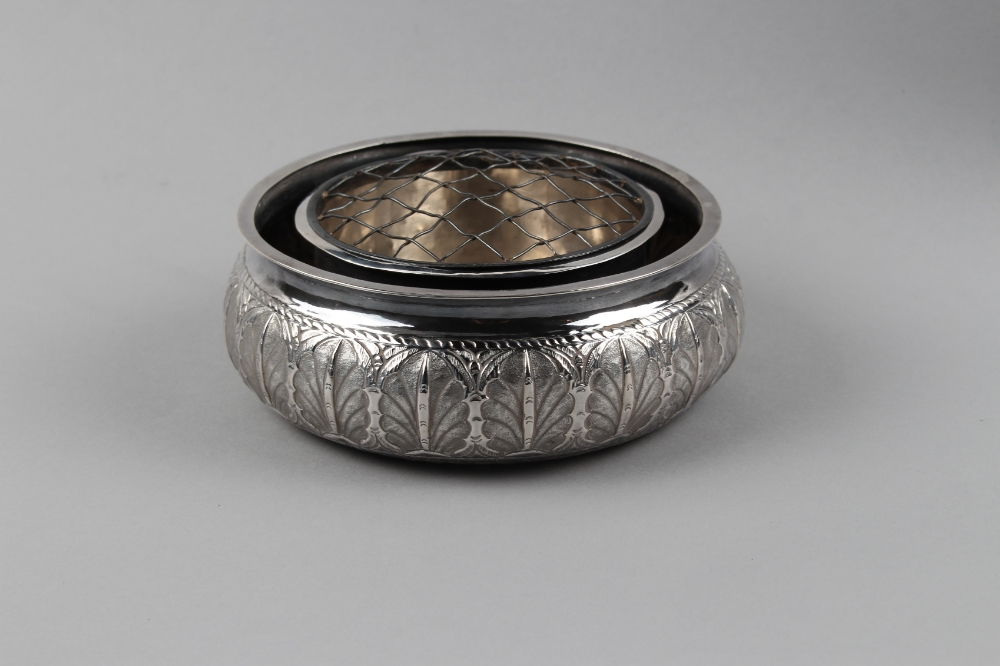 Property of a lady - a Persian silver rose bowl, decorated in repousse with a band of leaves, 5.