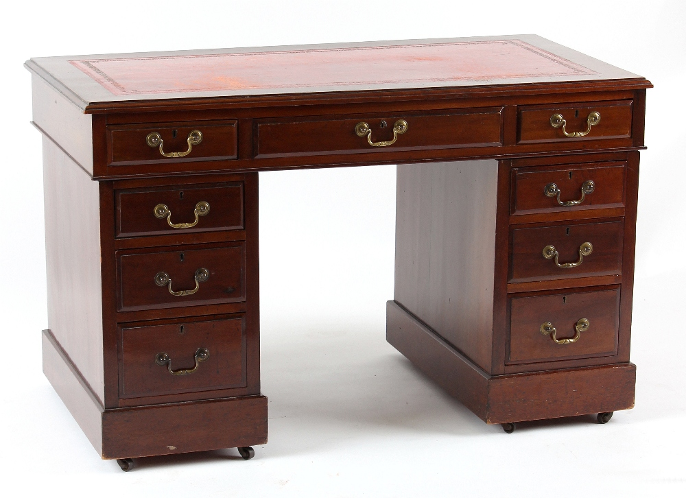 Lot 141 - Property of a gentleman - an Edwardian mahogany twin pedestal desk with red leather inset top