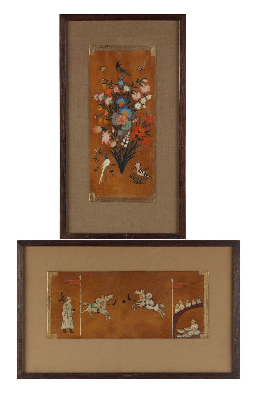 Property of a lady - two Indian or Persian oil paintings on card, late 19th / early 20th century,