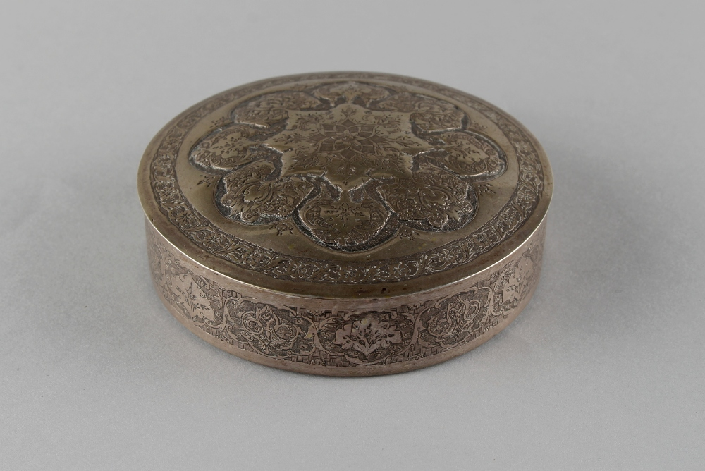 An Islamic silver circular box & cover, late 19th / early 20th century, marked 84 with maker's