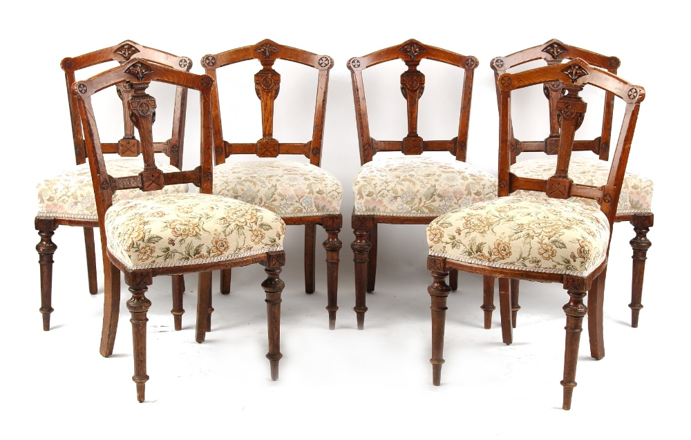 Lot 187 - Property of a lady - a set of six Victorian Gothic Revival carved oak side chairs (6) (see