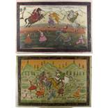Property of a lady - a pair of Indian paintings on silk depicting tiger hunts, the paintings each