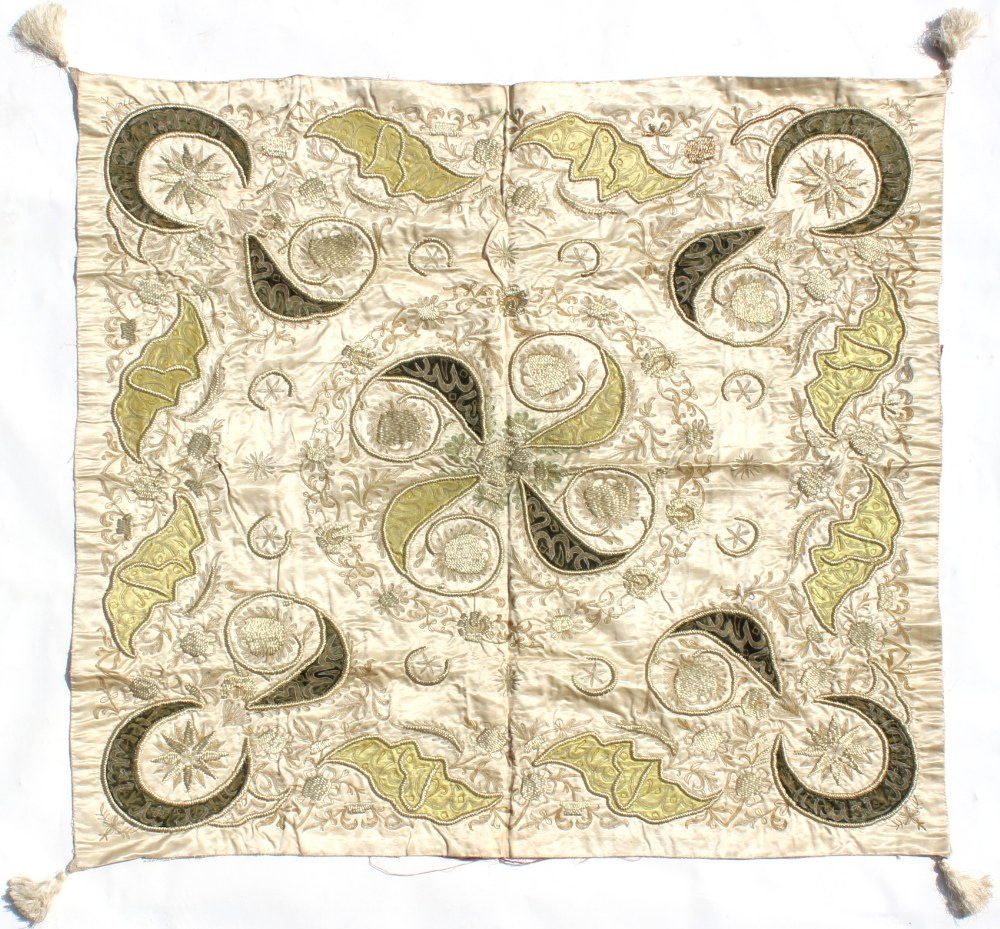 Property of a gentleman - a Persian or Turkish embroidered silk coverlet, early 20th century,