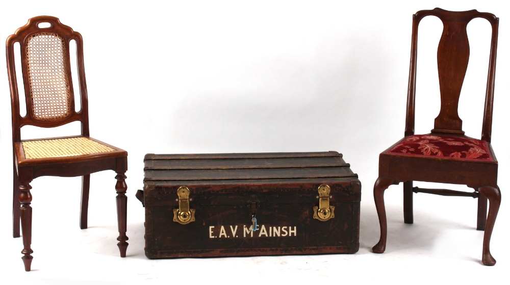 Property of a deceased estate - two assorted side chairs; together with a cabin trunk (3) (see