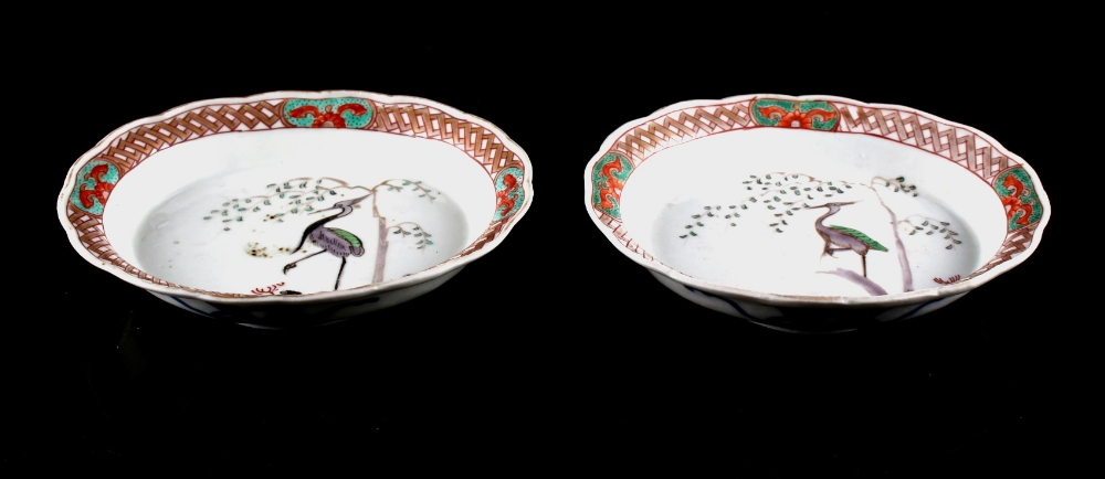 Property of a lady of title - a pair of 19th century Japanese Imari shaped oval dishes, each painted
