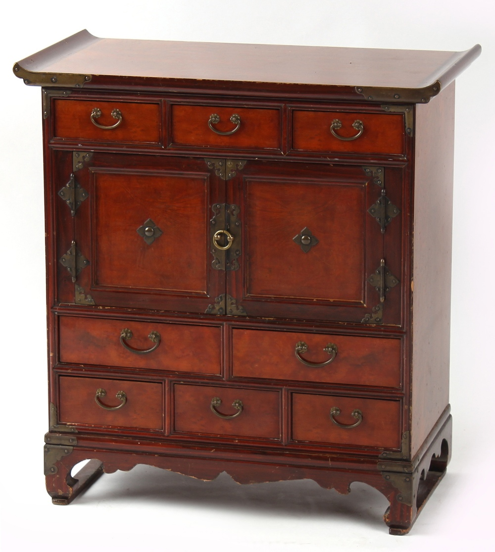 Property of a deceased estate - a Korean elm side cabinet fitted with an arrangement of eight