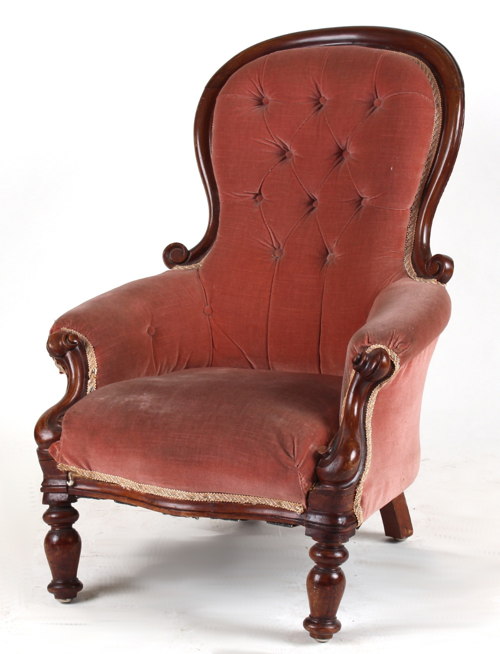 Lot 168 - Property of a lady of title - a Victorian pink upholstered spoon-back armchair (for restoration) (
