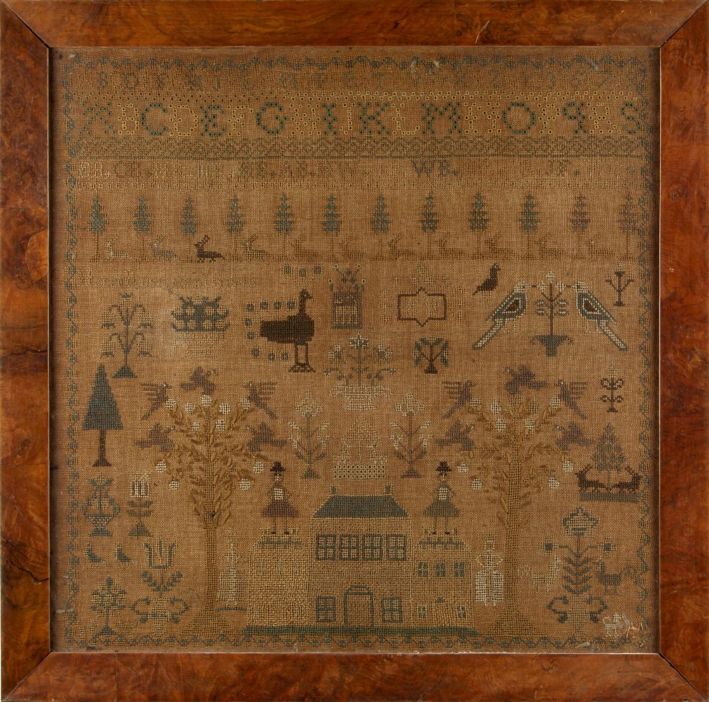 Property of a lady - a late 18th / early 19th century house & figures sampler, in glazed frame, 20.