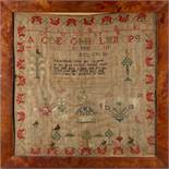 Property of a lady - an early 19th century animals & flowers sampler, dated 1806, in glazed frame,