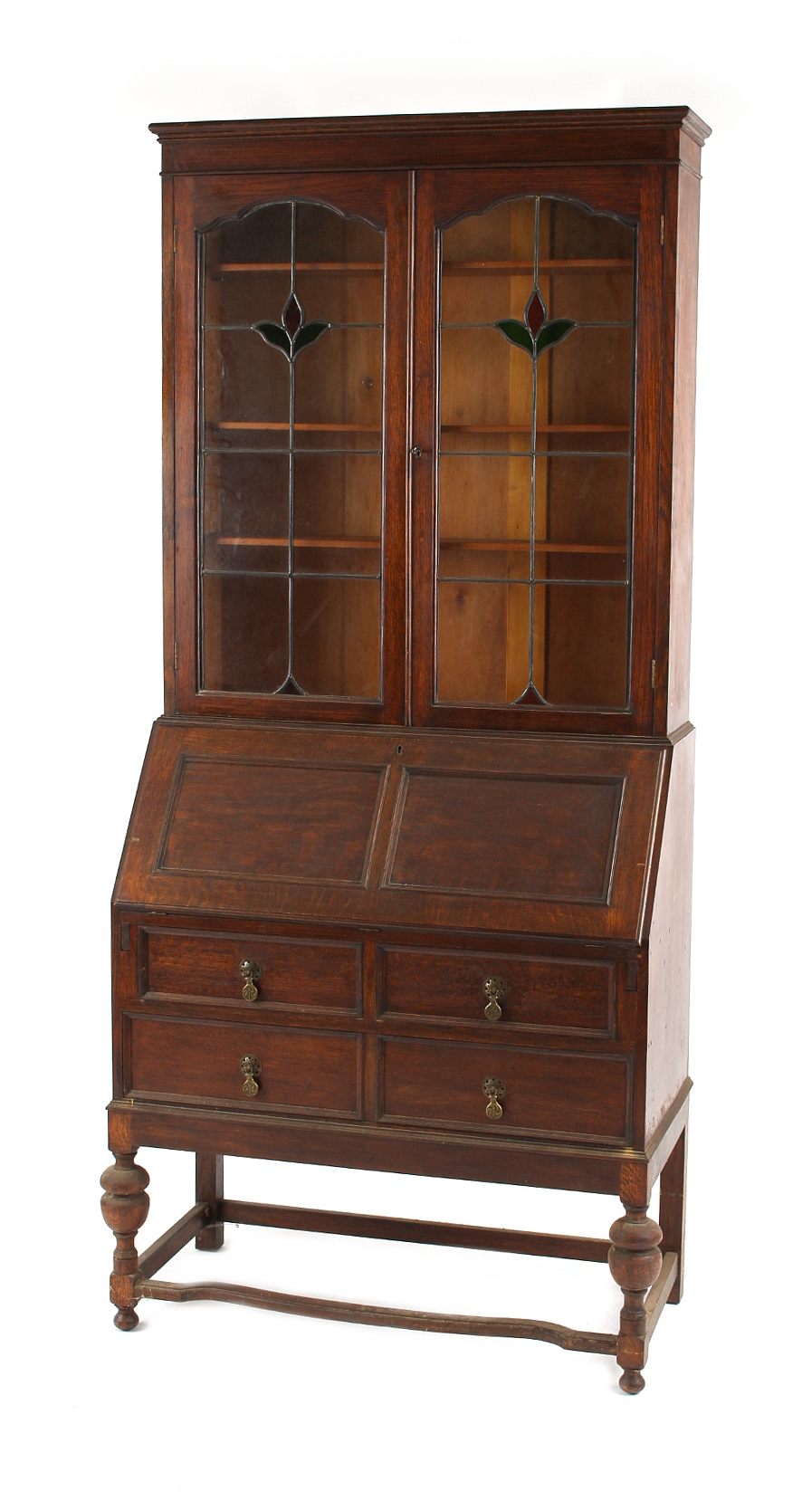 Property of a deceased estate - an oak bureau bookcase with glazed upper section, second quarter