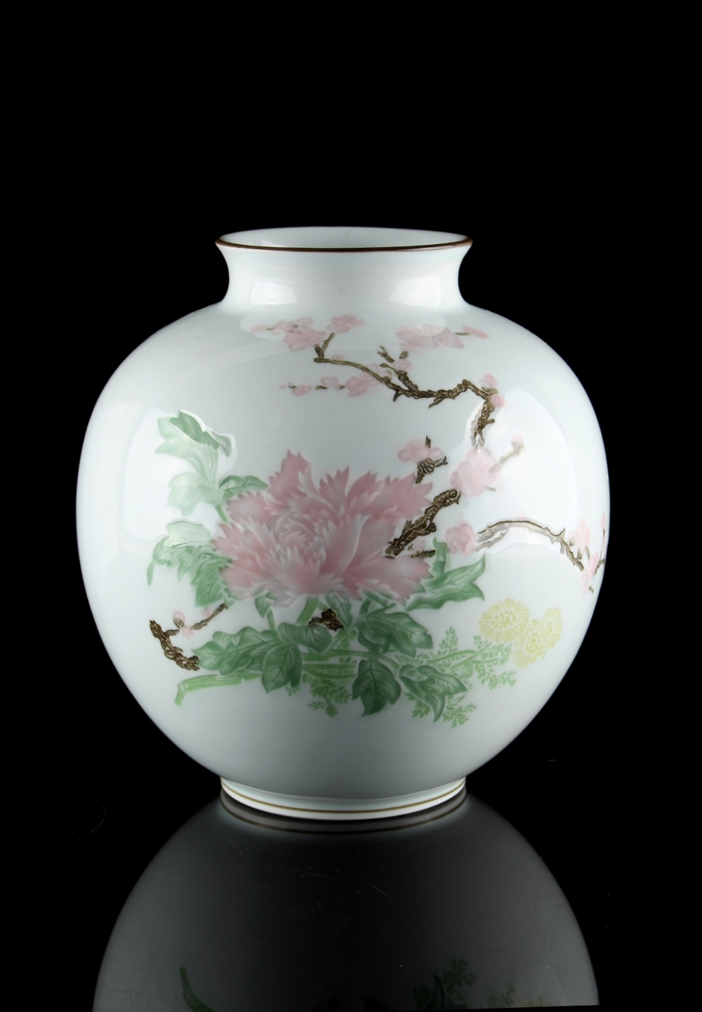 Property of a lady - a Japanese porcelain ovoid vase, with impressed & painted floral decoration,
