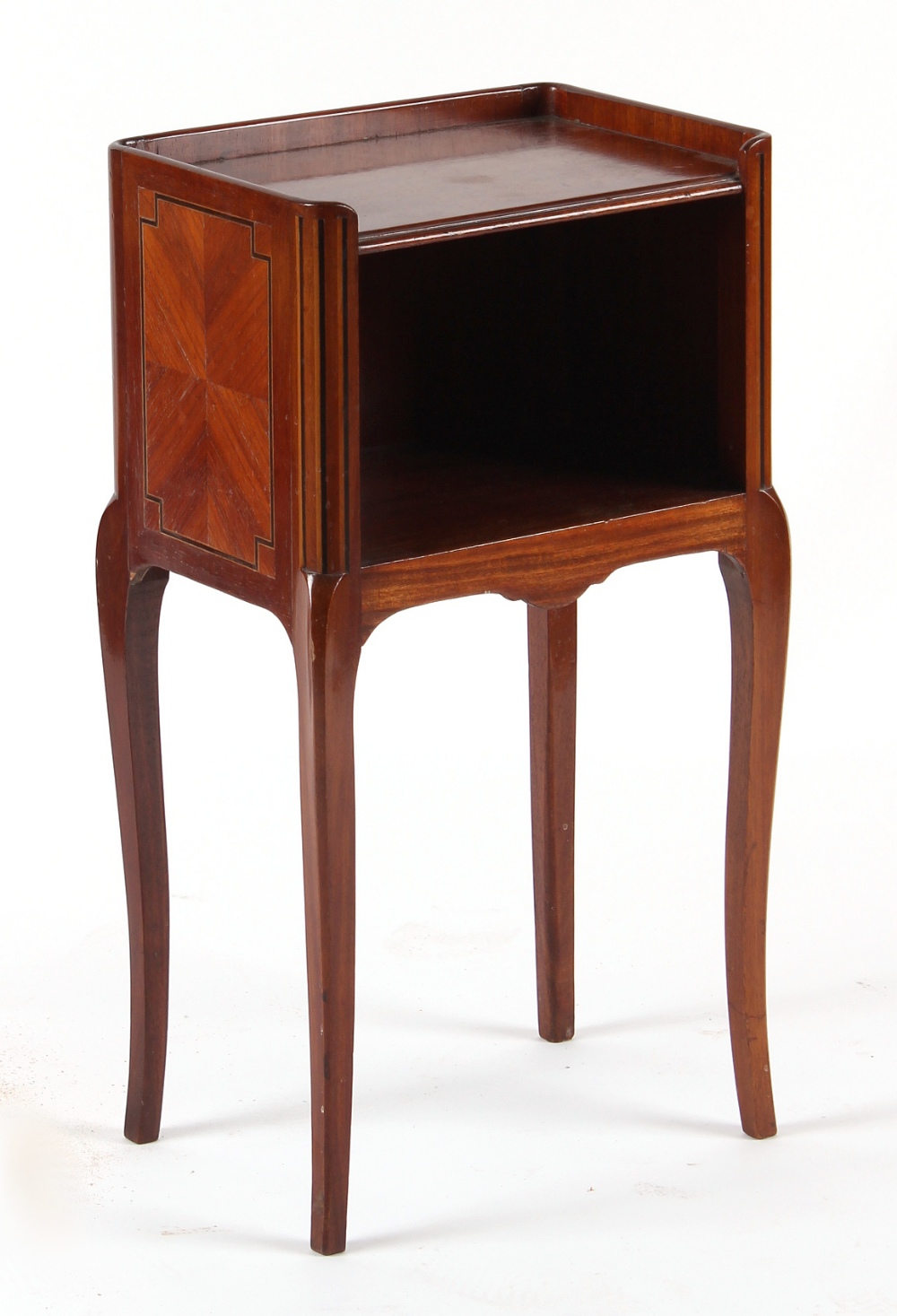 Lot 133 - Property of a gentleman - a French mahogany, kingwood & strung open bedside cupboard, with
