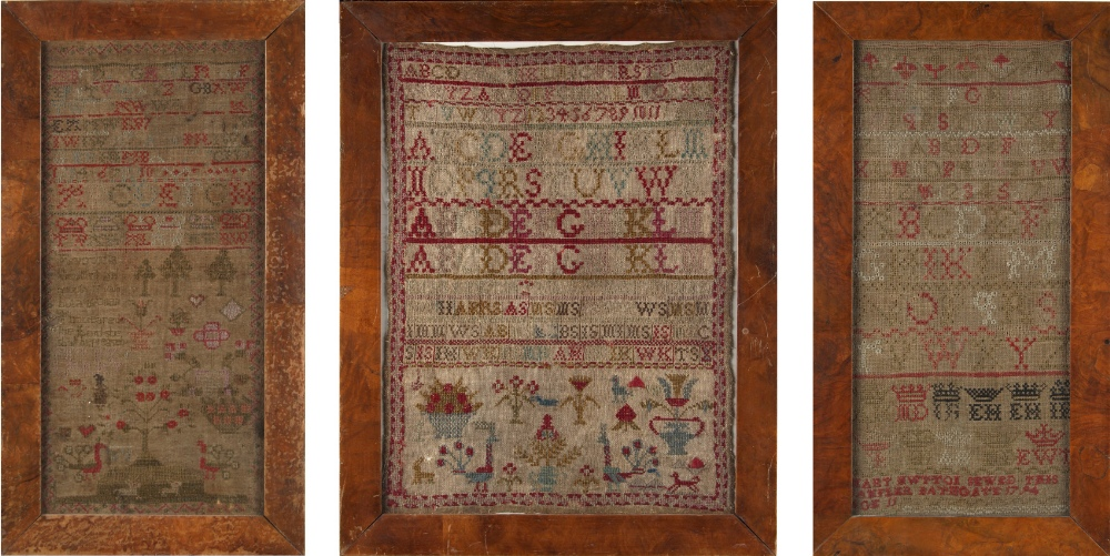 Property of a lady - a 19th century alphabet & figures sampler, in glazed frame, 19.1 by 14.