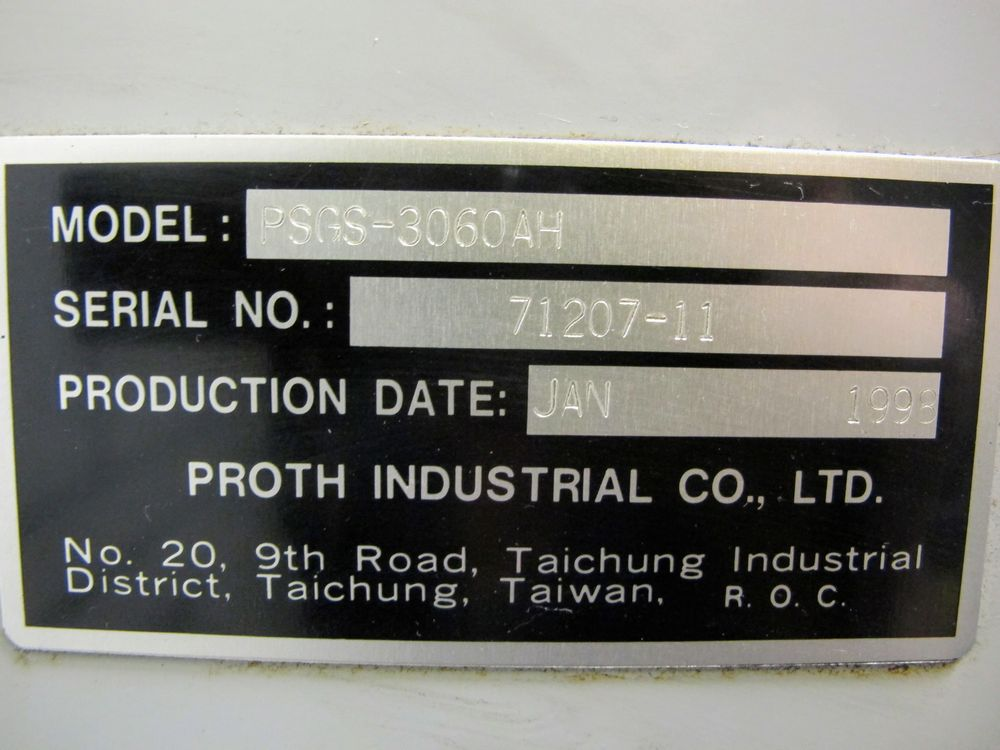"""PROTH PSGS-3060AH SURFACE GRINDER, S/N 71207-11, 24"""" X 12"""" ELECTROMAGNETIC CHUCK, FULLY AUTOMATIC, - Image 5 of 5"""