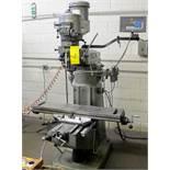 """BRIDGEPORT 2HP VERTICAL MILLING MACHINE, S/N 293877, 9"""" X 42"""" TABLE, D60-2V DRO, 575V, COLLET SET"""