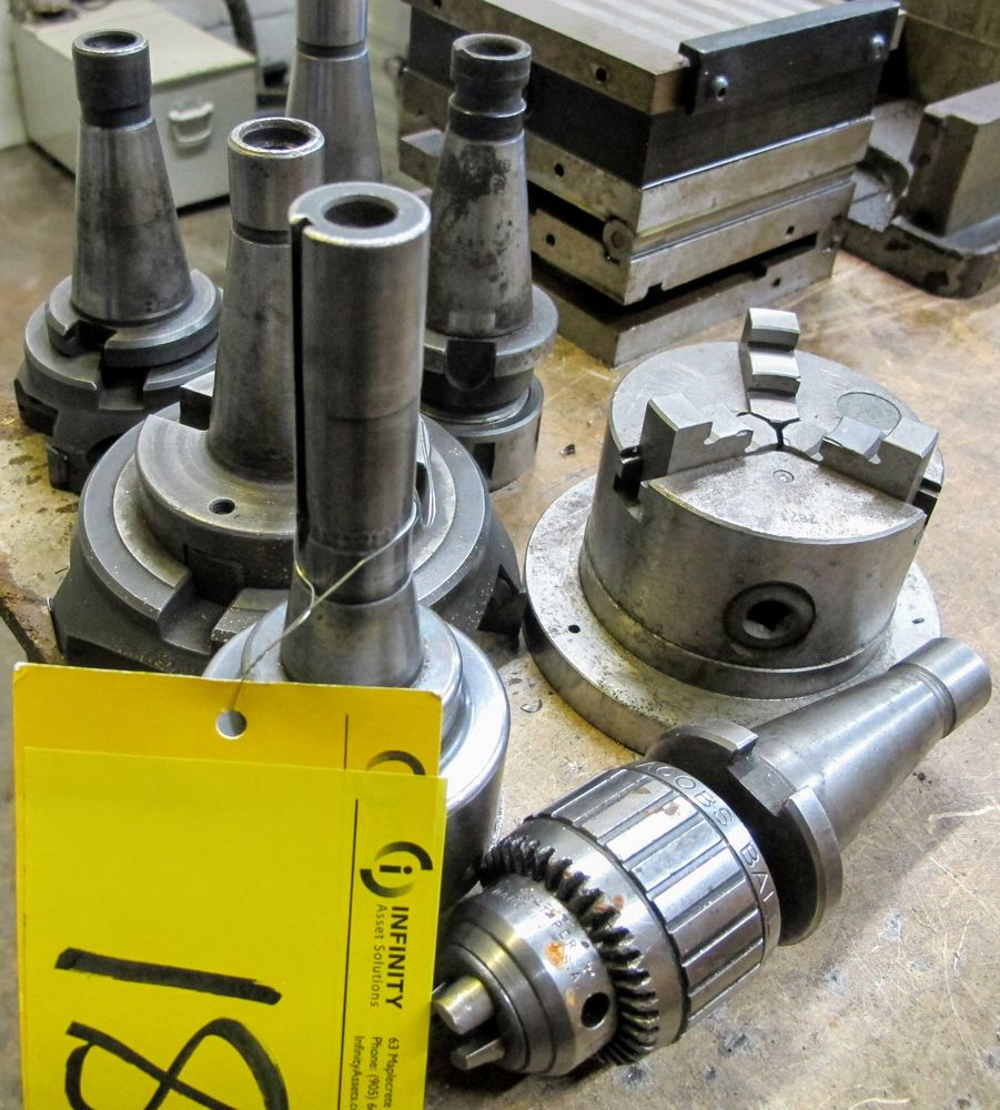 """40 TAPER MILL TOOL HOLDERS W/CUTTING HEADS, CHUCK AND 4"""" - 3 JAW CHUCK"""