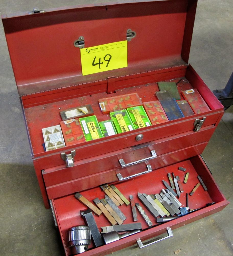 GREY TOOL BOX, 3 DRAWERS W/CARBIDE CUTTERS AND CUTTER BARS
