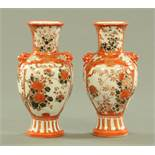 A pair of Japanese Kutani porcelain vases, early 20th century,
