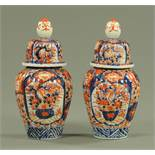 A pair of Japanese Imari vases and covers, late 19th century,