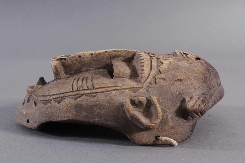Antike Maske, Senufo, Elfenbeinküste 1. Hälfte 20. Jh.Aus hellem Holz geschnitzt, Narbentatauierung, - Bild 3 aus 6