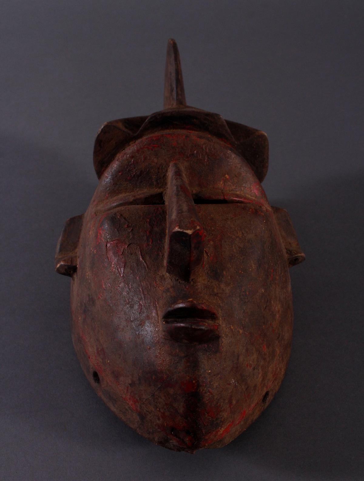 Antike Maske, Baule, Elfenbeinküste 1. Hälfte 20. Jh.Holz geschnitzt,dunkle Patina, Reste von - Bild 4 aus 6