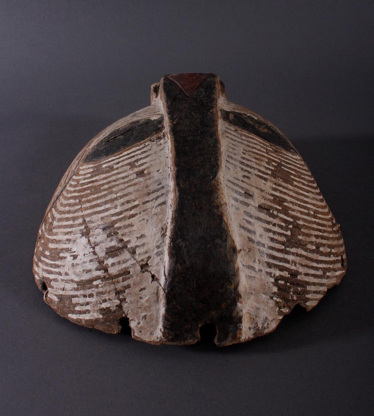 """Antike Maske, Luba, KongoHolz geschnitzt, runde """"Kifwebe-Maske"""" der Luba. polychrom gefärbt, mit - Bild 6 aus 6"""