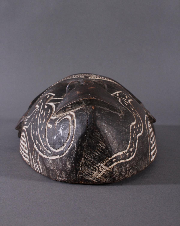 Antike Maske, Chokwe, Angola 1. Hälfte 20. Jh.Holz geschnitzt, dunkle Patina, Narbentatauierung, ca. - Bild 6 aus 7