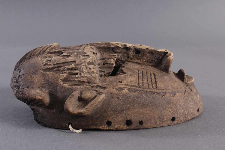 Antike Maske, Senufo, Elfenbeinküste 1. Hälfte 20. Jh.Aus hellem Holz geschnitzt, Narbentatauierung, - Bild 2 aus 6